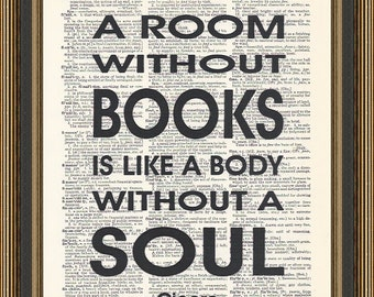 A room without books quote printed on a vintage dictionary page, Typography Poster,Book lover gift, Book club print, Library Art Decor.