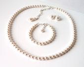 Pearl Jewelry 3 Piece Set, Bridesmaid Gifts, WHITE OR IVORY Pearl, Bridesmaid Jewelry Set, Backdrop Necklace, Single Strand, Wedding Jewelry