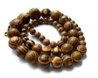 Vintage Lucite Wood Look Necklace, Vintage long Necklace
