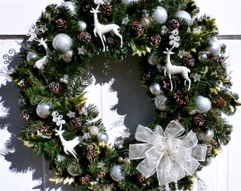 """Artisian Wreath Accented with Swarovski Elements Bow Winter White Reindeer Wreath-26"""" FREE SHIPPING US Only+ Free Wreath Hanger"""