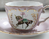 Unicorn Pink and Gold Teacup and Saucer Set, Custom Tea Cup, Bespoke Unicorn Dish, Unicorn Plates Available, Design Your Own Tea party!
