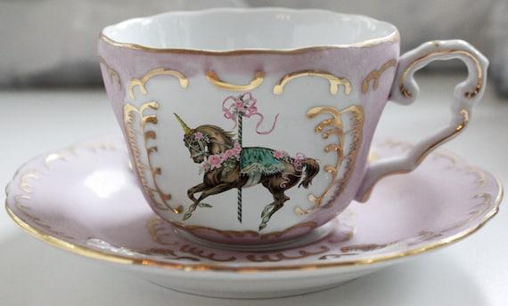 Unicorn Pink And Gold Teacup And Saucer Set Custom Tea Cup