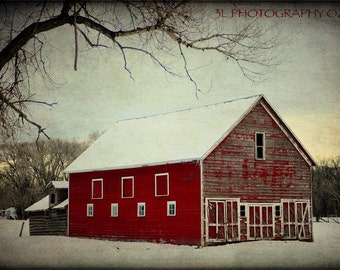 Red Barn Photography Rustic Home Decor Farmhouse Wall Art Snow Fine Art Prints