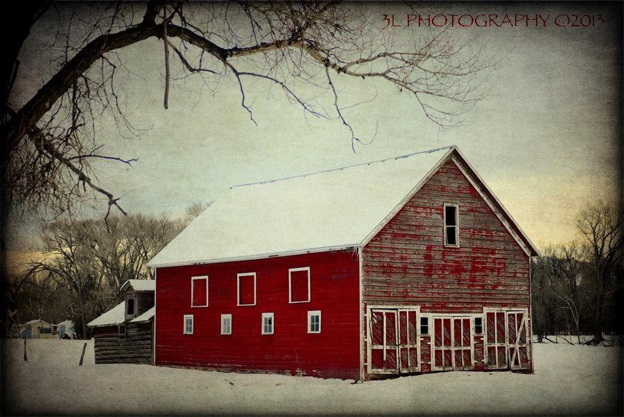 Red Barn Photography Rustic Home Decor Farmhouse Wall Art Snow