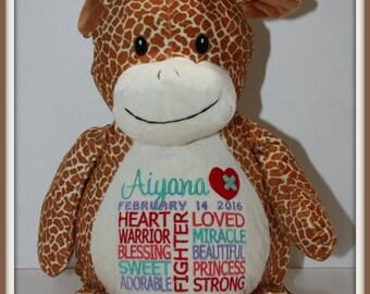 CHD personalized Giraffe Warrior Pet, stuffed animal