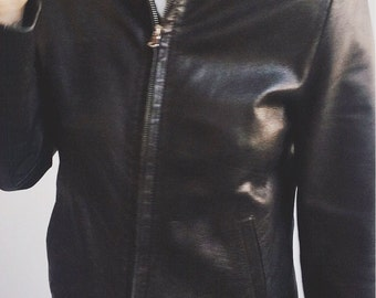 Vintage leather zip up