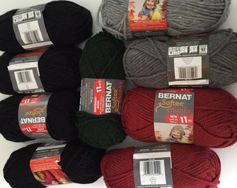Chunky Yarns DeStash, Bernat Softee Chunky Yarn Black, Red, Grey