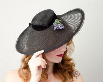 1930s vintage hat / sheer black horsehair wide brim hat / New York Creations