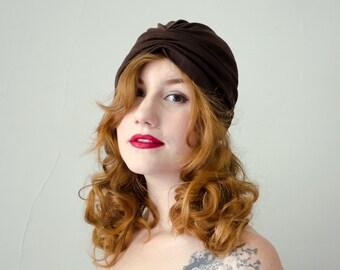 1970s vintage hat / dark brown jersey turban