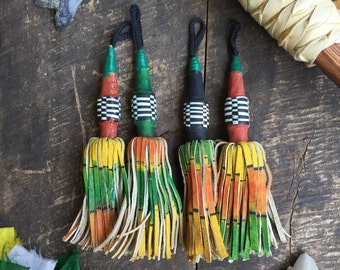 Ombré Lure-Like African Tuareg Tassel, Red, Green, Black Leather Keychain, Charm, Tribal Pendant, Boho Tassel Jewelry Making Supply 1 Piece