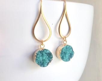 Druzy Drop Earrings. Dangle Earrings. Teal Druzy Earrings.  Turquoise Dangle Earrings. Gift. Druzy Jewelry. Christmas Gift. Holiday Jewelry.