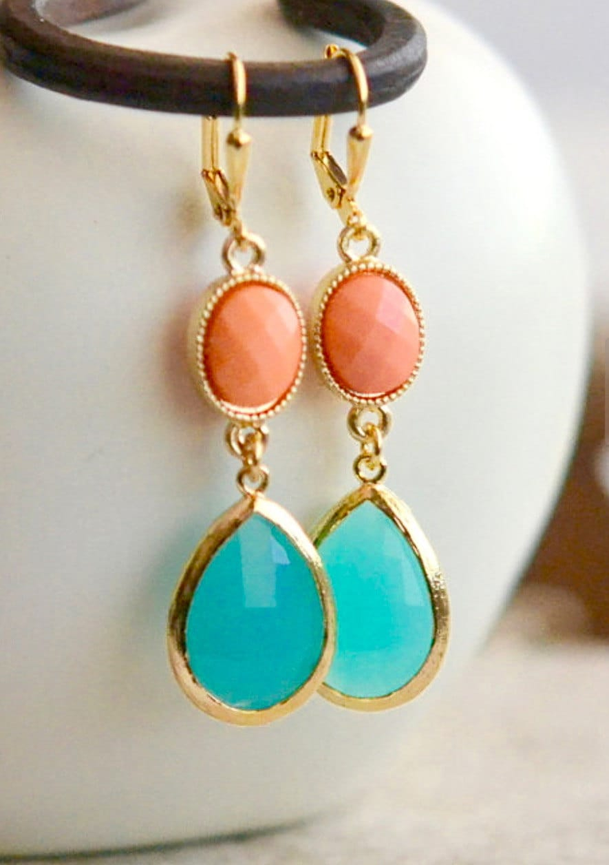 turquoise and coral dangle earrings in gold by rusticgem