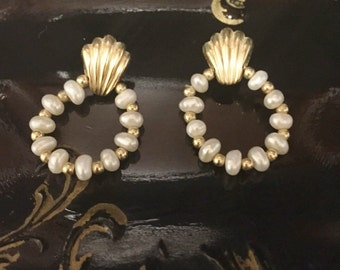 Seed Pearl 14k Doorknocker Earrings
