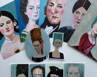 HISTORICAL Postcard and Sticker 11-piece set // set of 6 stickers and 5 postcards from  original art antique portrait paintings