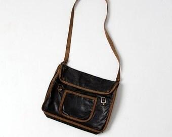 SALE 1920s school bag, vintage black messenger bag