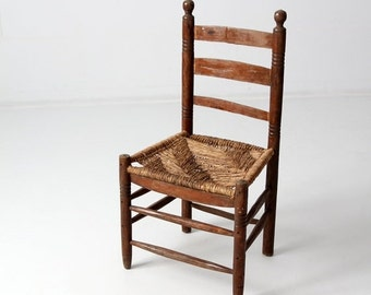 SALE antique rush seat chair with ladder back