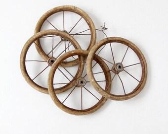 SALE vintage carriage wheels set of 4, small spoke wheels