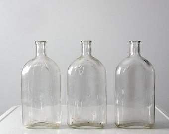 SALE vintage Pyrex apothecary bottle collection, 3 large bottles
