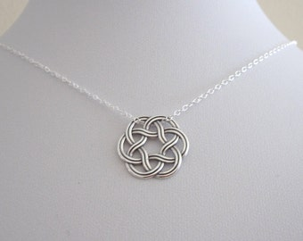 CELTIC KNOT round sterling silver charm with necklace