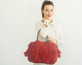 Handbag Tote Leather Bag Red Bag Tote Boho Bag Women Bag Leather Tote  Fashion Women Accessory Handmade Bag Christmas gift Crochet Bag