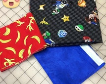 Super Mario Checkered Characters Pillowcase Kit - all three pieces of fabric needed to sew a customized pillowcase