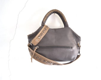 SALE Anthracite  Leather Top Handled Purse with Weave and Braiding.  Ready to Ship. OOAK