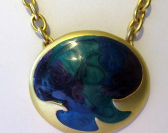 Modernist Enamel Pendant Necklace Peacock Blue & Purple Statement Piece Signed