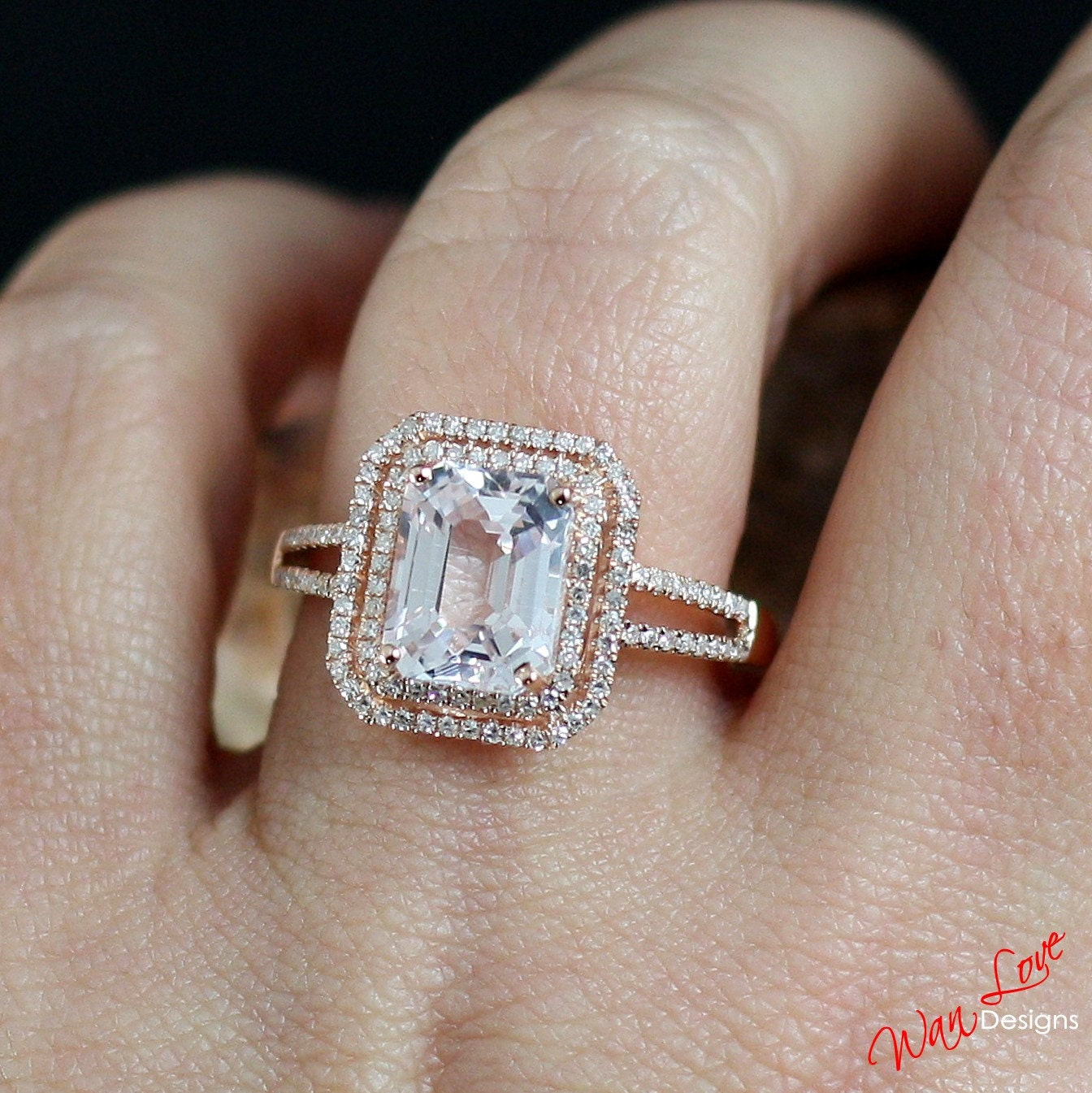 Light Pale Pink Sapphire & Diamond 2 Halo Engagement Ring