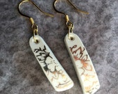 Broken China Earrings, Gilded, Gold Floral, 1.25 in, 14K Gold Ear Wires, Lightweight, Gift under 20, FREE SHIPPING, #125