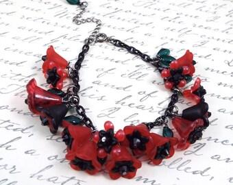 Red Black Poppies Charm Bracelet - Spring in Provence