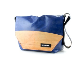 Large Messenger Bag made from Recycled Truck Tarp, Man Bag, Satchel Style Bag, MacBook Bag (53.08)
