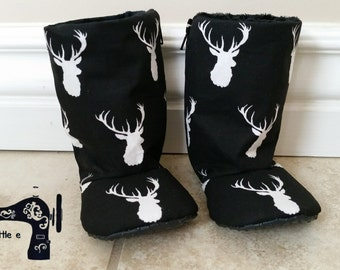 SALE** Deer head cotton baby boots- infant to toddler- non slip sole - soft minky, black and white