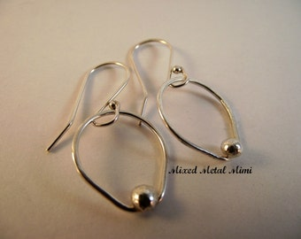 Sterling Silver Earrings, Sterling Hoops, Sterling Silver Dangle, Recycled Metal, Mixed Metal Mimi, Handcrafted Jewelry, Under 25- E-003