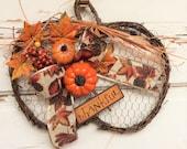 AG Designs Fall Decor - Flat  Grapevine Twig Chicken Wire Pumpkin Wreath #613/36