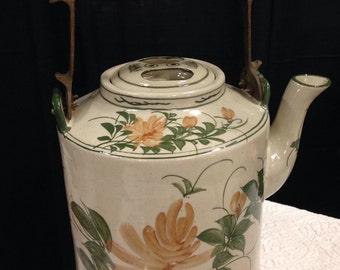 Vintage Stoneware Kettle Teapot Coffee Pot Floral
