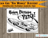 """Race Car """"Hot Wheels"""" Birthday printable Coloring page - Personalized!"""