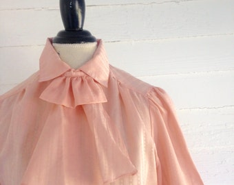 Vintage PEACH 80s Secretary Blouse with Ruffle Ascot Collar
