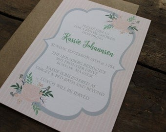 Blush and Gray Floral, Bridal Shower Invitations, Simple, Neutral, Elegant, Stripes, Garden Party