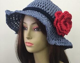 Crochet Summer Hat w/Removable Flower Pin_Denim