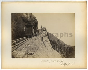 Mountain Rail Way, Geneva, Switzerland - 19th Century Albumen Photograph