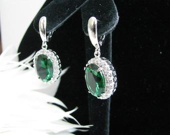 Emerald Green Crystals and Rhinestones Bridal Wedding Earrings  Rhinestone Crystal Bridal Statement Necklace, Gold Crystal Wedding Earrings