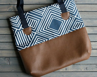 Navy and Brown Leather Medium Diaper Bag Tote