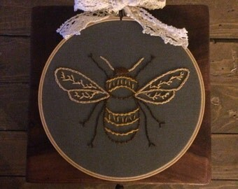Bee Embroidery Wall Art
