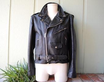 Vintage Mens 42 Medium Large Sunrise Leather Company Black Leather Overcoat Motorcycle Jacket Moto Hipster Mod Fashion Biker Rider Goth Punk