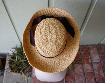Vintage Scala Women's Medium Crocheted Raffia Hat Natural Fibers Straw Sun Hat Bow Spring Fashion Summer Boat Travel Beach Boho Hippie Dress