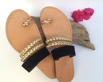 The Misty Sandal - Black with Gold and Rose Gold