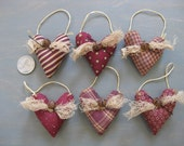 Small Hanging Hearts - Set of 6 - Primitive Valentine's Day - Mini Heart Ornaments - Wedding - Anniversary -Sweetest Day - Love Decor