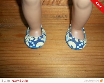 American 18 Inch Doll Clothes doll shoes are yellow and blue