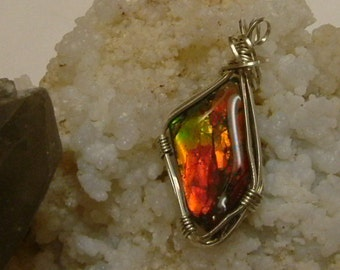 Bright Red to Orange, Green and Gold Color Fire High Grade Gem Ammolite Found in Utah Deposit, Argentium Sterling Silver Wire Wrap 425