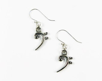 Bass Clef Jewelry - Music Earrings for Musicans Playing Cello, Bass Guitar, Bassoon, Trombone, Horn, Tuba